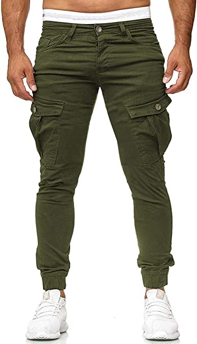 WINJIN Homme Pantalon Casual Cargo Chino Jeans Sport Jogging