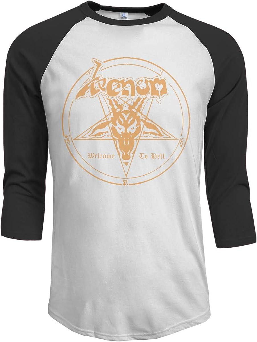 Wudici Mens Venom Band Logo Casual 3//4 Sleeve Baseball Tshirt Raglan Jersey Shirt