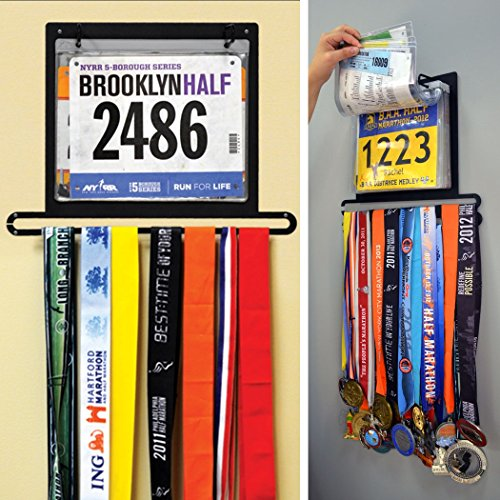 Gone For a Run BibFOLIO Plus Race Bib and Medal Display - Black - Wall Mounted - Displays up to 24 medals and 100 race bibs (Award Medals Display Case compare prices)