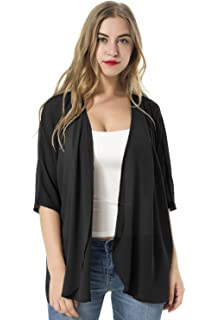 TownCat Women s Chiffon Loose Casual 3 4 Sleeved Blouse Comfortable Breathable  Thin Cardigan Sweater 27325b2a2