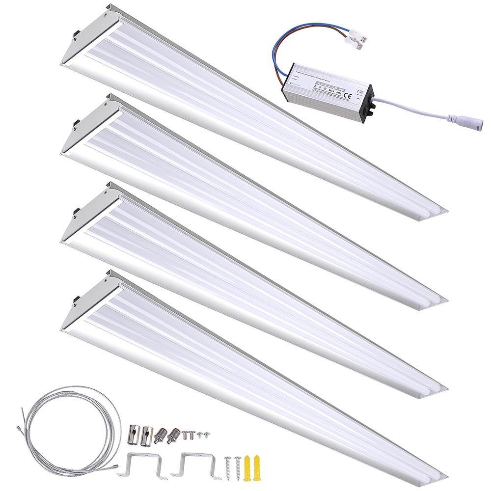 DELight 4-Pack 40W LED Shop Light 5000K 4000-4500lm Garage Work Shop Hanging Light Feature Ceiling Light Aluminum
