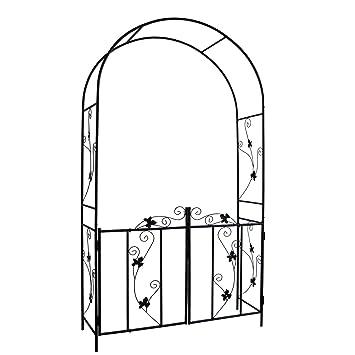 Arche De Jardin Avec Portillon 110 Cm X 214 Cm X 38 Cm En Acier Résistant Aux Intempéries Arceau Arcade De Jardin Support à Rosier Avec Porte