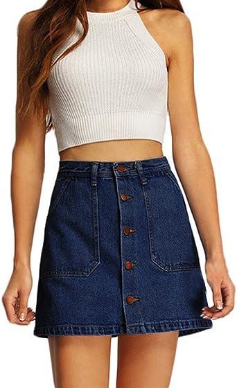 Jeans Rock Mujer felicove, verano Mujeres Cowboy Mini Faldas alta ...