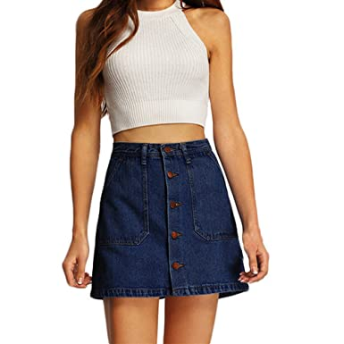 69eae08d9 Lavany Jeans Skirt Women Front Button A-Line Denim Short Skirt with Pockets  for Girl at Amazon Women's Clothing store: