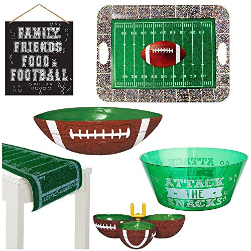 Party City Football Serveware with Table Runner Kit; Includes Runner, Serving Dishes, and Wall Décor, 6 Pieces