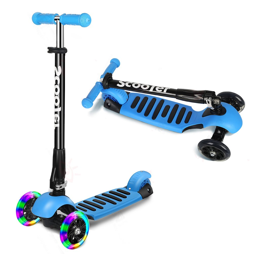 ICODE Scooter for Kids Premium 3 Wheel Kick Scooter for Toddlers (2-8 Year) with Adjustable Height,Led Flashing Wheels (BLUE)