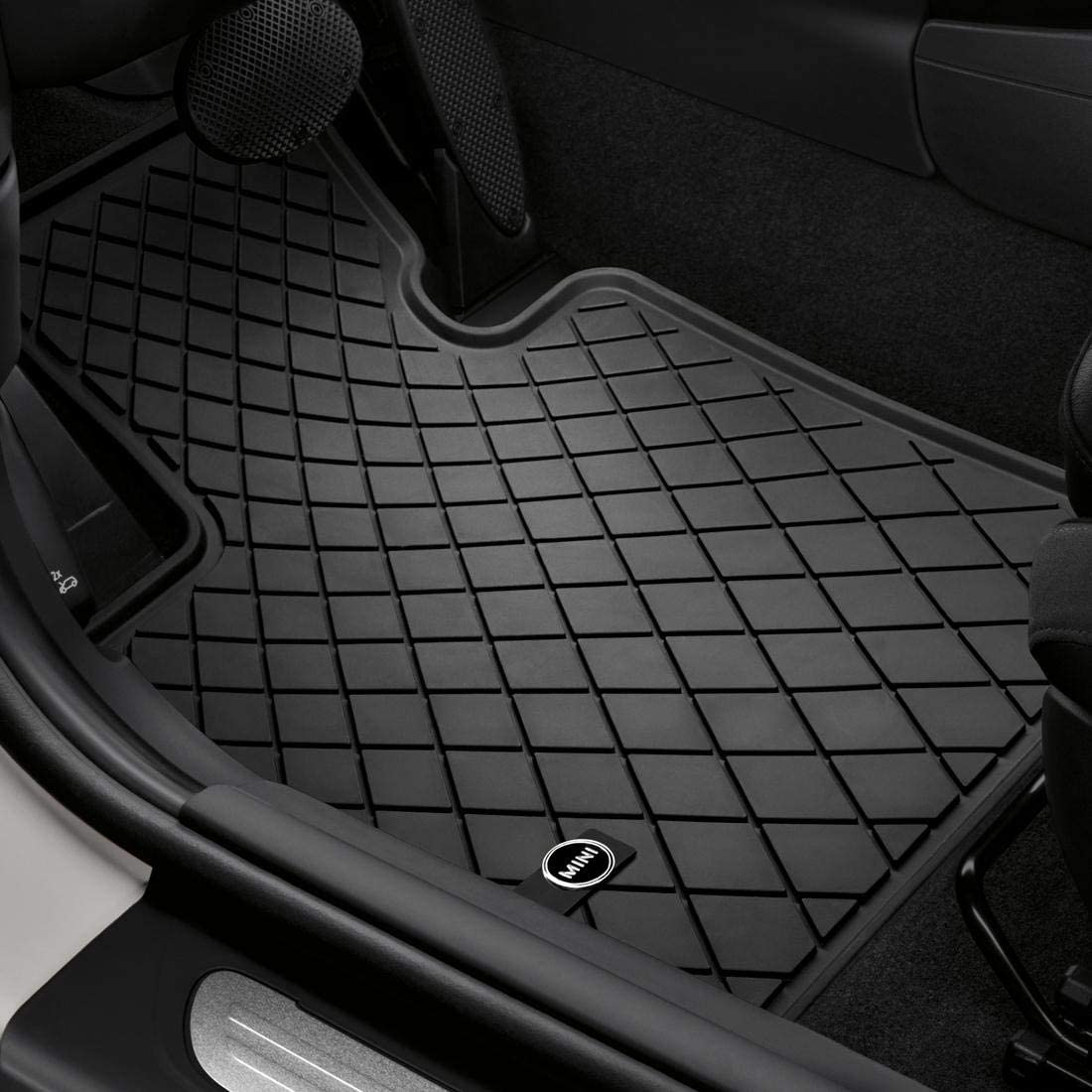 MINI COOPER CONVERTIBLE 2008 TAILORED CAR MATS BLACK CARPET WITH RED TRIM