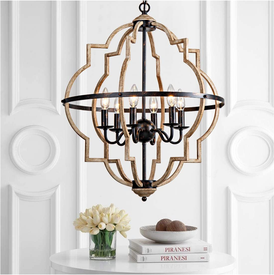 Rustic Chandelier,Classy Farmhouse Pendant Light,Vintage Iron 6-Light Orb Chandeliers, Stardust Oak Finished Pendant Lighting,Ceiling Hanging Light Fixtures for Dining Room,Bedroom,Living Room,Foyer