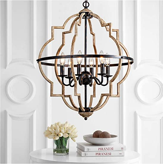 Rustic Chandelier,Classy Farmhouse Pendant Light,Vintage Iron 6-Light Orb Chandelier