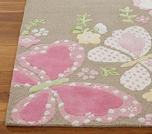 Allen Home Wool Rug 5 X8 Butterfly Pink Kid s Loop Pile Tufted Persian Traditional Wool Rug Carpet