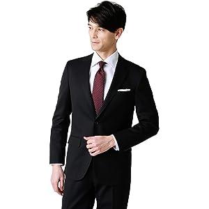 [ニューヨーカー] スーツ 上下セット ストレッチ ギャバ 無地 NEW スリムモデル 2ボタン ノータック 黒 A6 160781010536