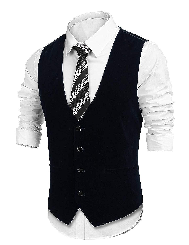 Abito Da Uomo In Velluto Vest Business Wedding Party Vest Giovane Basic Short Vest Vestibilità Slim Fit Casual Gilet Tuxedo Vest Con Monopetto E Taschino None