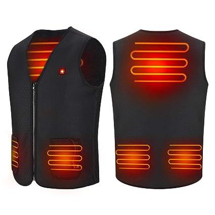 Chaleco de mujer con calefacción USB, Chaqueta térmica de 5 V con calefacción Ropa calentador almohadilla térmica para hombres y mujeres, Alimentado ...