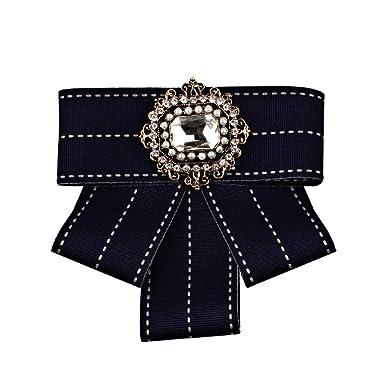 YYIILL Pajarita Cinta tejida Corbata Broche Joyas de Lona Collar ...