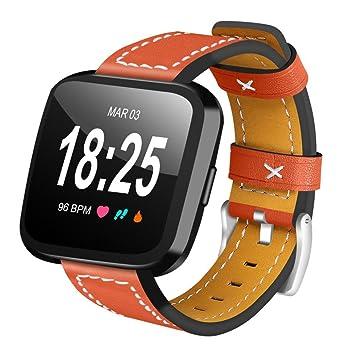 Correa de reloj Fitbit Versa, Banda de pulsera de cuero artificial ...