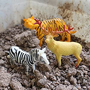 UGGL Animals Figure, 5 inches Jungle Animals Toys Set, 10 Pieces Plastic Animals Action Figure Toys Set, Forest Animals Toys Playset, Realistic Wild Animal, Eduactional Toys For Kids Toddler