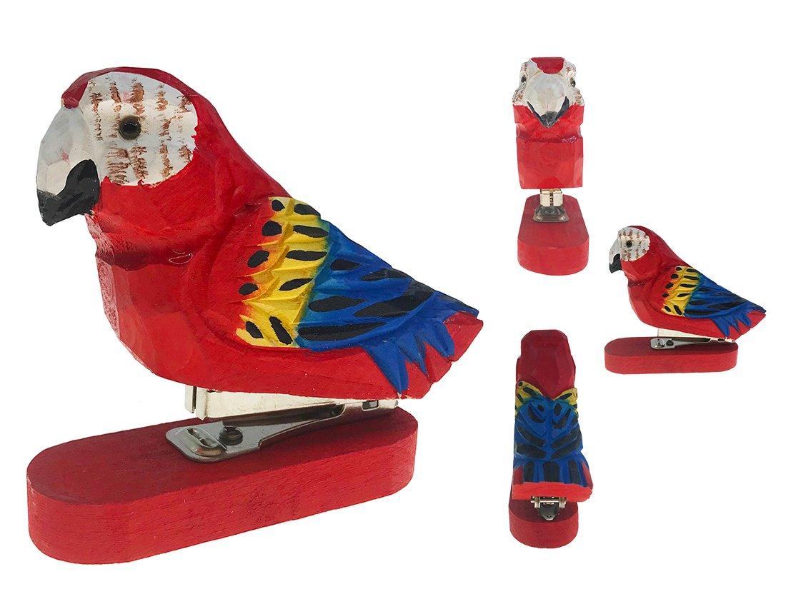 Vivid Handmade Wood Carving Cartoon Animal Stapler for School Office Stationery Children Gift(Parrot)