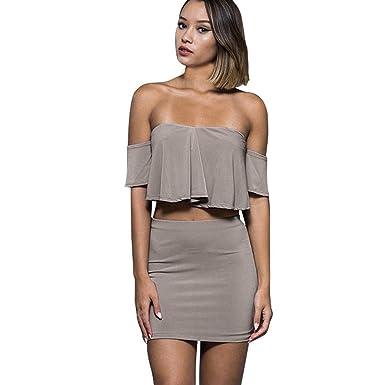 Conjunto de Falda Superior para Mujer Sexy Off Shoulder de ...