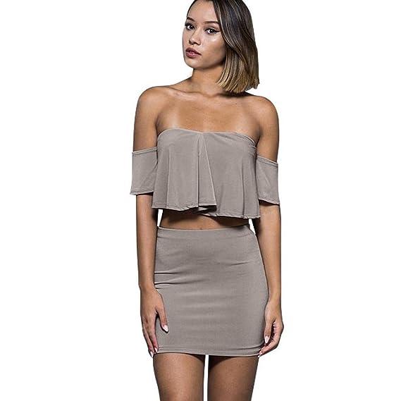 Conjunto de Falda Superior para Mujer Sexy Off Shoulder de Dos ...
