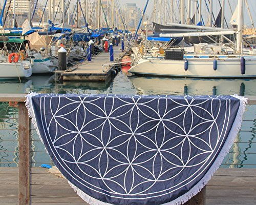Flower Of Life Mandala Tapestry Sacred Geometry - Round Wall Hanging - 72 inches - Organic Cotton By Mandala Life ART (Navy) Sacred Geometry Mandala