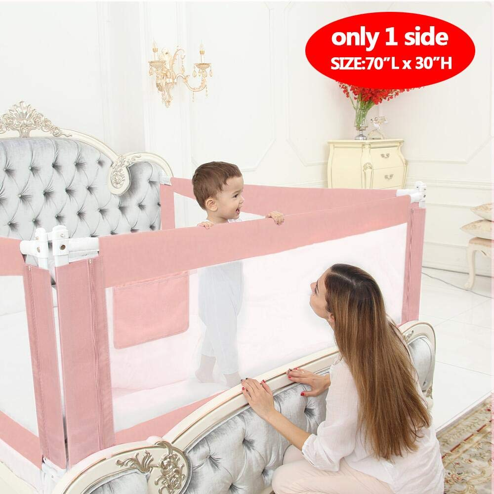 ABDQPC Bed Rails for Toddlers Extra Long Toddler Bed Rail Guard for Kids Twin, Double, Full Size Queen & King Mattress Bed Rails for Toddlers (180 cm / 70'')