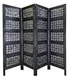 Chitra - Antique Pewter 4 Panel Handcrafted Wood Room Divider Screen 72 x 80 - Intricately hand carved on both sides - Reversible Versatile - Hides Clutter - Adds décor and divides the room