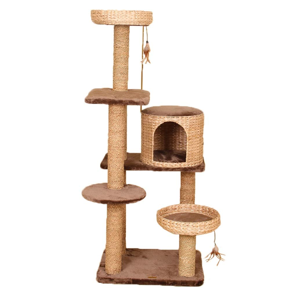 TT Six-Layer Plush Cat Tree,Cattail Woven Cat Nest,Brown Natural color Cat Tower Climbing Toy,48  62  156cm Only 1 Size Cat Furniture
