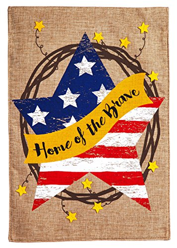 Evergreen Home of The Brave Wreath Burlap House Flag, 28 x 44 inches For Sale