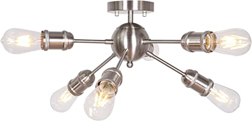 MELUCEE Sputnik Chandelier Modern 6-Lights Semi Flush Mount Ceiling Light Brushed Nickel Industrial Pendant Light for Kitchen Island Living Room Bedroom Foyer Hallway