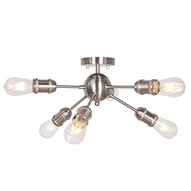 Sputnik Chandelier Modern 6-Lights Semi Flush Mount Ceiling Light Brushed Nickel Industrial Pendant Light for Kitchen Island Living Room Bedroom Foyer Hallway UL Listed by MELUCEE