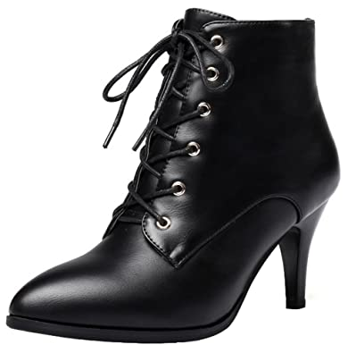 Women's Sexy Pointed Toe Stiletto Side Zip Up Ankle Booties Short Boots High Heels