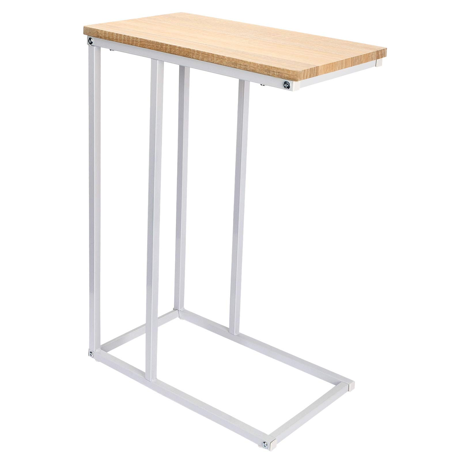 TS79hei WOLTU End Table Sofa Side Table with Storage C-shape Coffee Table Nightstand Laptop Table MDF Table Top Light Oak 55x36x59.5cm Metal Frame