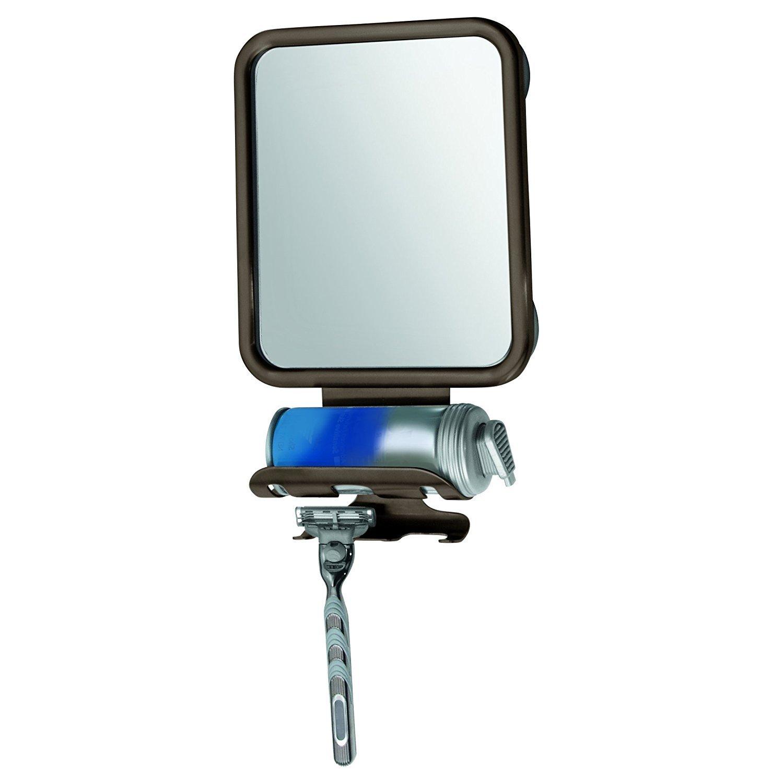 mDesign Suction Fog Free Shower Shaving Mirror with Shaving Cream and Razor Holder for Bathroom - Bronze MetroDecor 1359MDBA