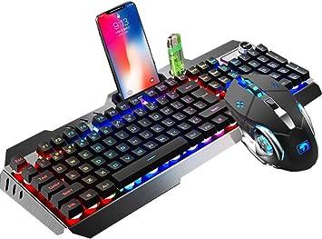 Packs de teclado y ratón Con cable RGB LED retroiluminado 104 teclas ergonómicas USB Multimedia Gamer Teclado Metal Impermeable + 2400DPI Óptico 6 ...