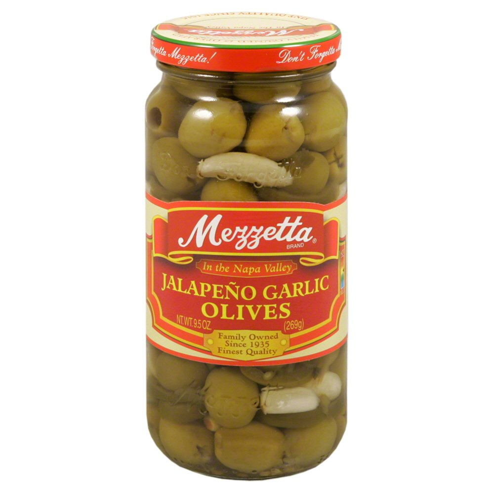 Mezzetta Olive, Jalapeno and Garlic, 9.5-Ounce (Pack of 6)