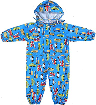 D C.Supernice Kids Rain Suit Boys Girls Cartoon Dinosaur Printed Raincoat Jumpsuit Puddle All-in-one Waterproof Suits