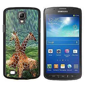 Qstar Arte & diseño plástico duro Fundas Cover Cubre Hard Case Cover para Samsung Galaxy S4 Active i9295 (Doble Jirafas)