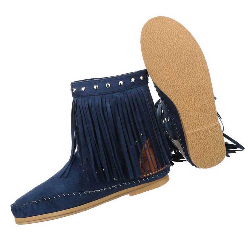 Damen Stiefeletten Schuhe Boots Designer Schlüpfstiefel mit Fransen Creme 35 nxVA0XmDt
