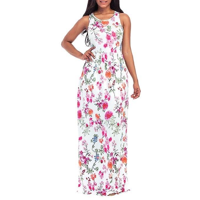 QUICKLYLY 2018 Verano Mujer Floral Vestido de Sin Mangas Vendimia Boho Maxi Largo Vestidos de Fiesta