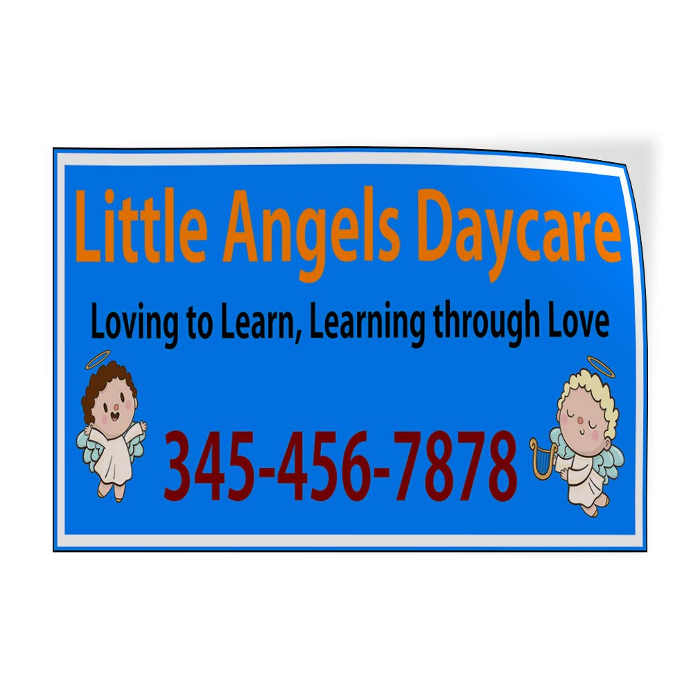 Custom Door Decals Vinyl Stickers Multiple Sizes Name Loving to Learn Phone Number Education Little Angels Daycare Outdoor Luggage /& Bumper Stickers for Cars Blue 54X36Inches Set of 2