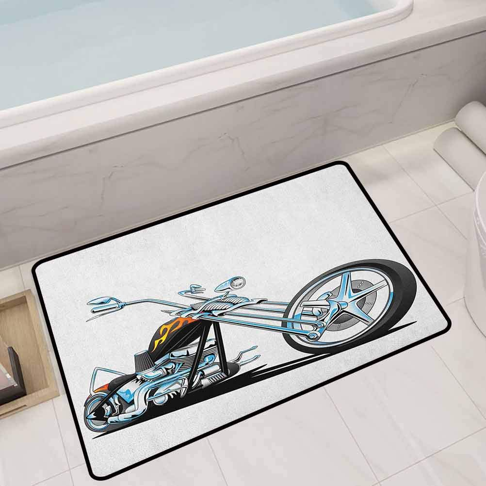 Large Floor Mats for Living Room Colorful American Chopper Motorcycle Competitions Tough Wild Cool Sport,24X16 Rectangle Throw Rugs