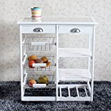 IdealBuy Kitchen & Dining Room Cart 2-Drawer 3-Basket 3-Shelf Storage Rack with Rolling Wheels White