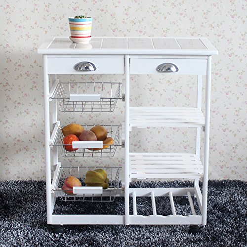 FCH Portable Kitchen Cart Kitchen Storage Cart Kitchen Island Cart Table Rolling Trolley Stand Counter Top Table with 2 Drawers & 3 Steel Baskets & 3 Shelves Storage Rack with Rolling Wheels by FCH