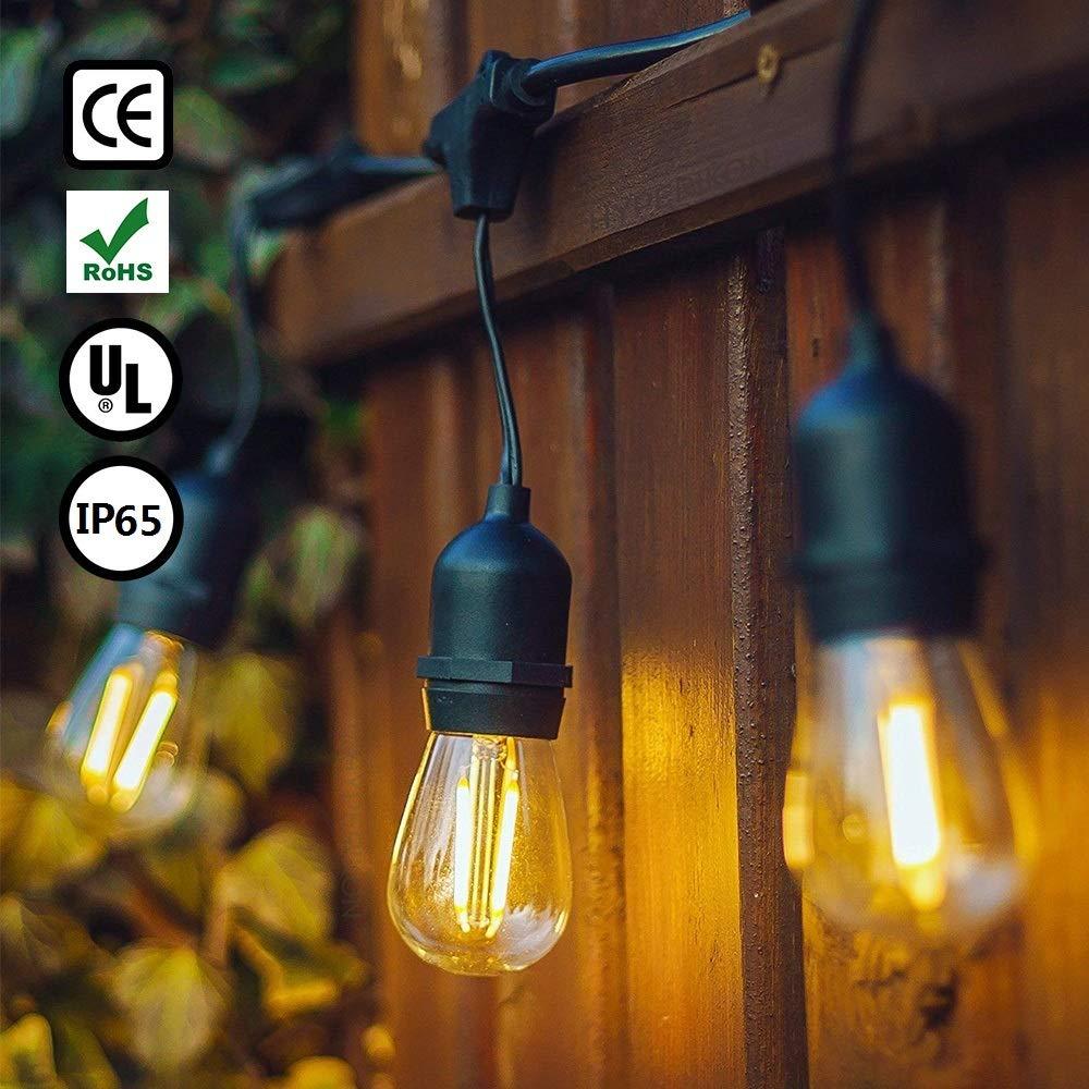 GogoTool 15m Tira de LED, 48ft IP65 Impermeable Guirnalda de Luces Exterior&Interior con 15+2 LED Bombillas Incandescentes Claras 220V Perfecto Para Jardines, Fiesta, Navidad