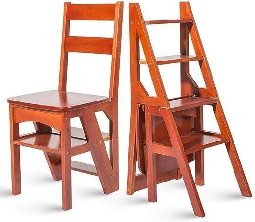 DY Escalera multifunción doméstica Taburete de Madera Maciza IKEA Silla Plegable de Doble Uso Escalera de Cuatro Pasos Escalera Ascendente 38 × 39 × 60 cm (Color : Wine Red Color): Amazon.es: Hogar