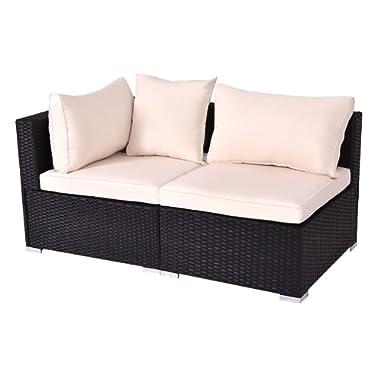 Tangkula Outdoor Wicker Furniture Set Infinitely Combination Cushion Wicker (1 Corner Sofa+ 1 armless Sofa)