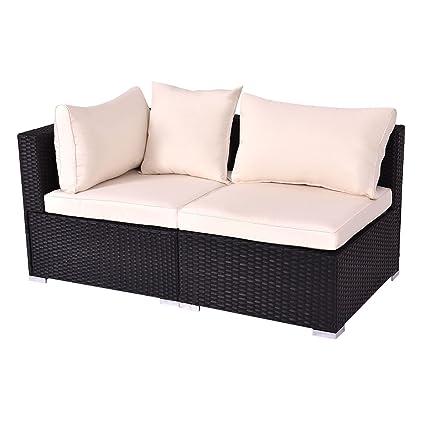 TANGKULA Outdoor Wicker Furniture Set Infinitely Combination Cushion Wicker  (1 Corner Sofa+ 1 Armless Sofa