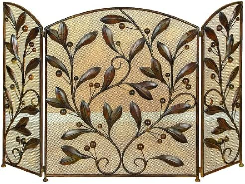Benjara Leaves and Beads Design Metal Fire Screen, Bronze
