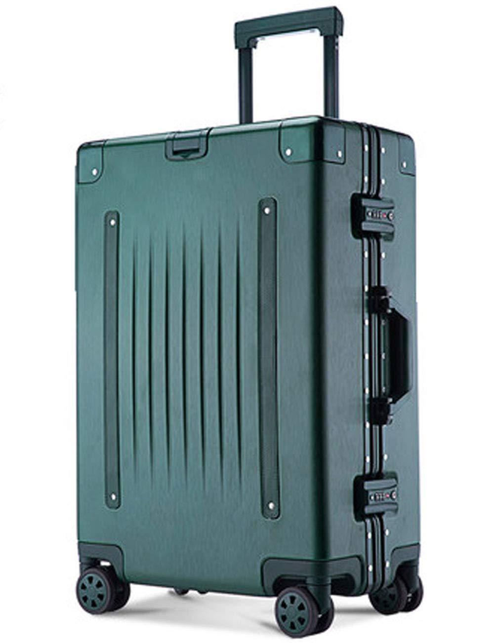4輪の荷物、防水ABS、伸縮プルロッド、TSAカスタムロック、360度回転ローラー、パスワード搭乗36cm * 23cm * 48cmの超軽量アルミフレームトラベル (色 : Green)   B07GSXH6RZ