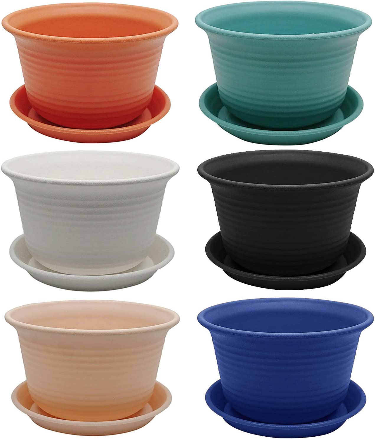 WANBAO 6 Inch Planters Plastic Pots Seed Nursery with Drainage Pallet for All House Plants, Multi Colored Set of 6.